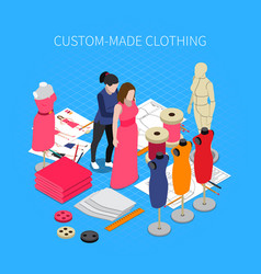 custom made clothing isometric concept vector image
