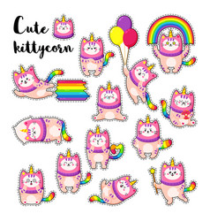 cute cartoon doodle cats vector image