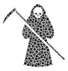Death scytheman mosaic of filled circles vector