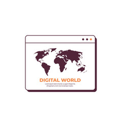 digital world in web browser window globalization vector image