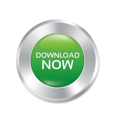 Download now button green round sticker vector