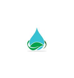 droplet water eco leaf logo vector image