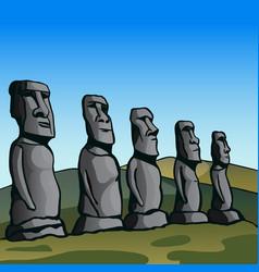 easter island stone idols vector image
