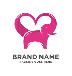 elephant love logo vector image