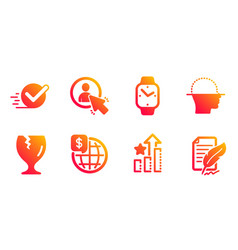 Face scanning checkbox and smartwatch icons set vector