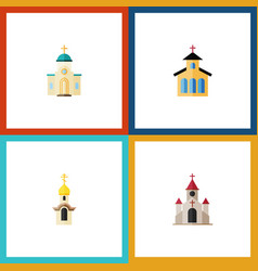 Flat icon christian set of religious catholic vector