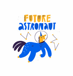 future astronaut hand drawn text lettering and vector image
