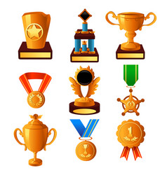gold medal and trophy icons vector image