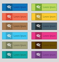Graduation icon sign set of twelve rectangular vector