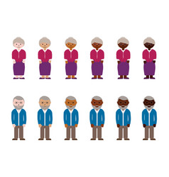 Grandmothers and grandfathers with different skin vector