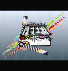 grunge rainbow palace vector image