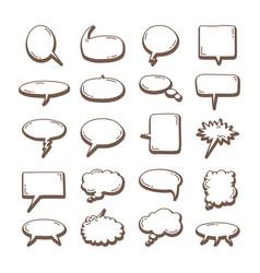 Hand drawn set speech bubbles drawn vector