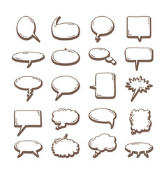 hand drawn set speech bubbles hand drawn vector image