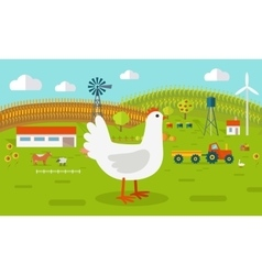 Hen on Farmyard Concept vector
