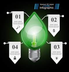 Infographic template eco bulb light leaf icon vector