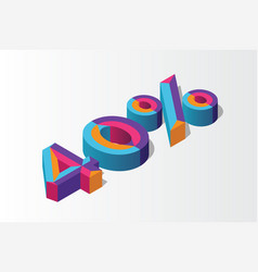 isometric 40 percent off 3d sale background vector image