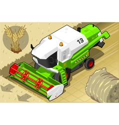 Isometric Green Thresher at Work in Front View vector image