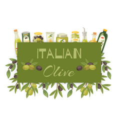 italian olive oil natural product banner with vector image