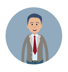 Joyed businessman or clerk flat icon vector