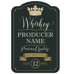 Label for whiskey with crown and ribbon vector