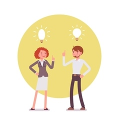 Man and woman are pointing to the lamp idea vector