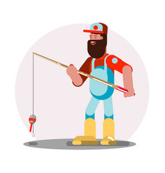 Man standing with fishing rod vector