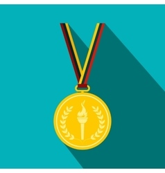 Medal with burning torch on a color ribbon vector image