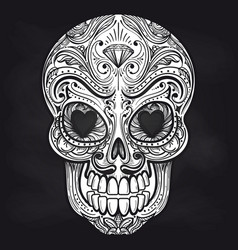 Mexican skull on chalkboard background vector