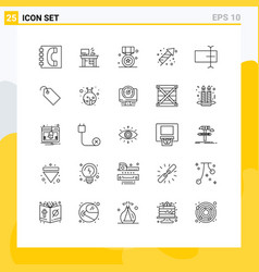 Mobile interface line set 25 pictograms of vector