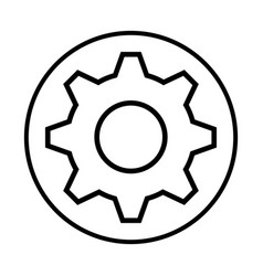 Monochrome contour with circular frame with pinion vector