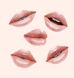 Nude lips set vector