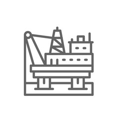 oil platform in sea fuel rig pumping station vector image