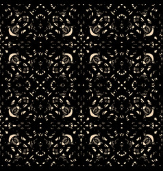 Ornate black guipure lace seamless pattern vector