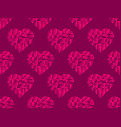 polygonal hearts seamless pattern red color happy vector image