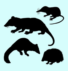 rat mice weasel and hedgehog silhouette vector image