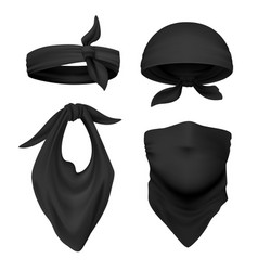 realistic black bandana face buff and vector image