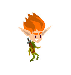 Redhead forest elf boy cute fairytale magic vector