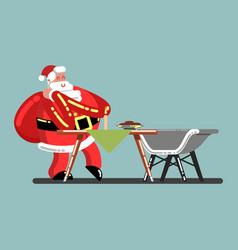Santa sneaks in house vector