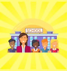 school building with pupils vector image
