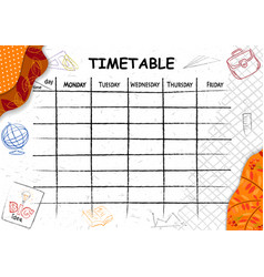 School timetable background with hand drawn vector