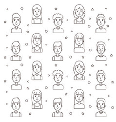 Seamless pattern of young people faces outline vector