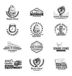 Set of labels badges with school hand vector
