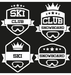 Set of Vintage SKI and Snowboard Club Badge Label vector image