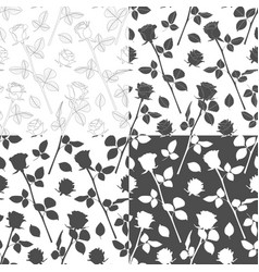 set seamless patterns with flowers roses vector image
