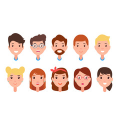 set women and men faces character constructor vector image