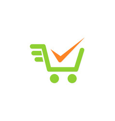 Shopping cart check mark logo vector