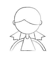 Sketch draw upper body girl cartoon vector