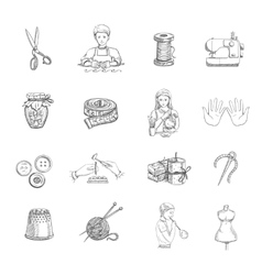 Sketch Handmade Icons Set vector image