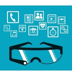 Smart glasses wearable technology blue background vector