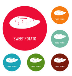 Sweet potato icons circle set vector